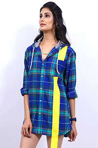 Blue Checks Shirt Dress